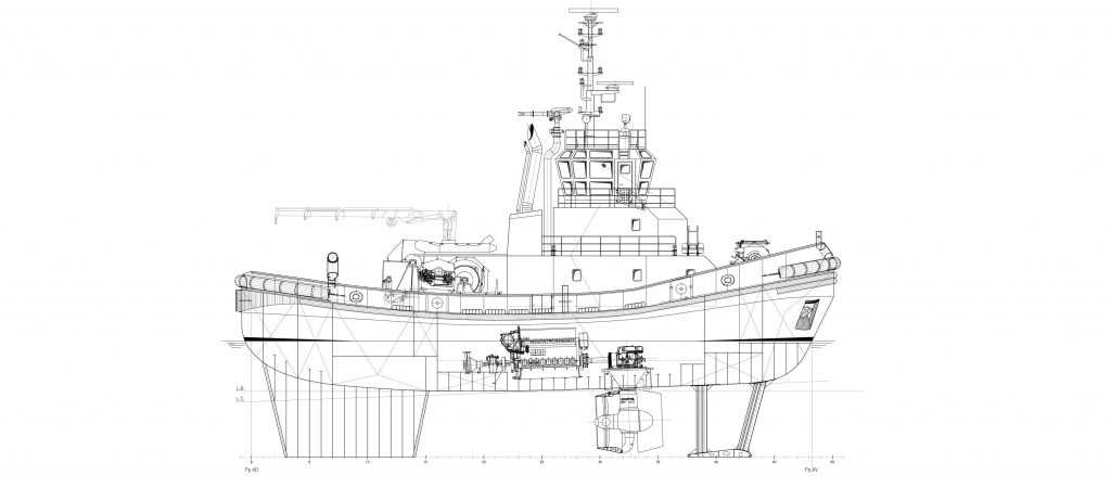 Design of azimuthal escort tug